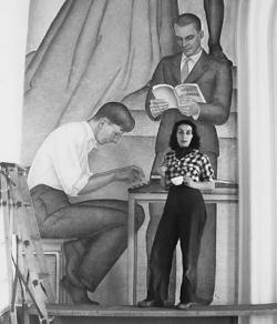 Baranceanu during the painting of The Seven Arts Mural in 1940,